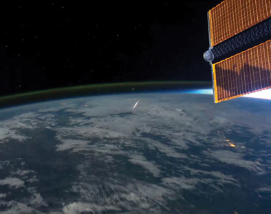 Looking down on a meteor from the ISS