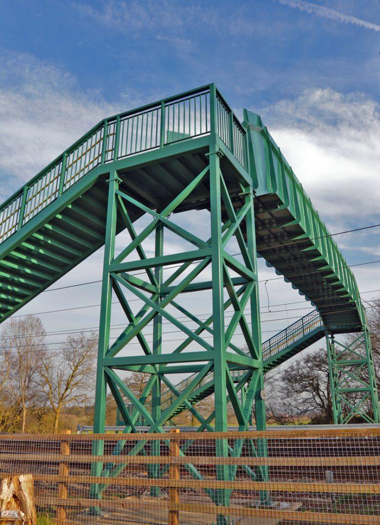 The £1 million footbridge over the railway line near Cofton Hall.