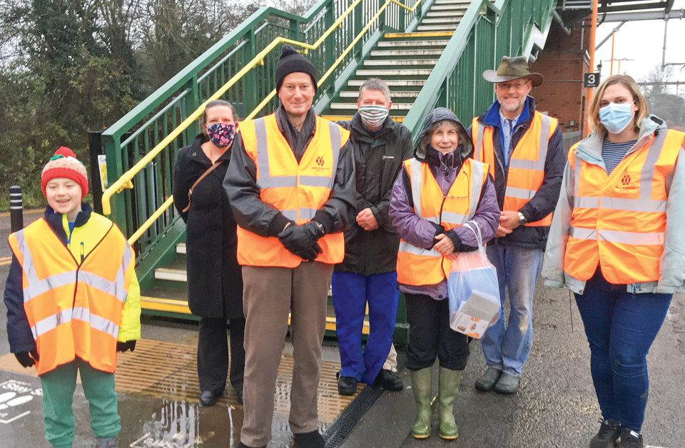Here to help: Some of Alvechurch station's new friends.